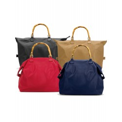 Leather bags with wooden handle in stock