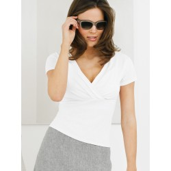 V Neckline  Top - White