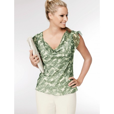 Green Chiffon Sleeveless Blouse